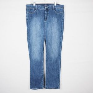 NYDJ Straight Leg Jeans, Medium Wash, Size 16
